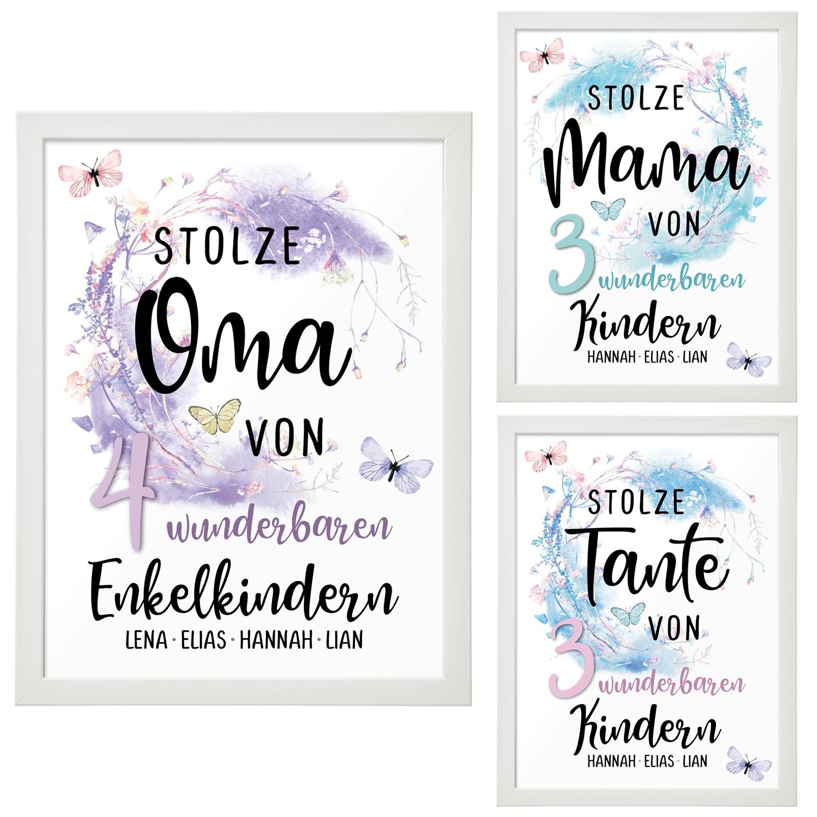 Wandbild: Stolze Oma / Mama / Tante (personalisierbar)