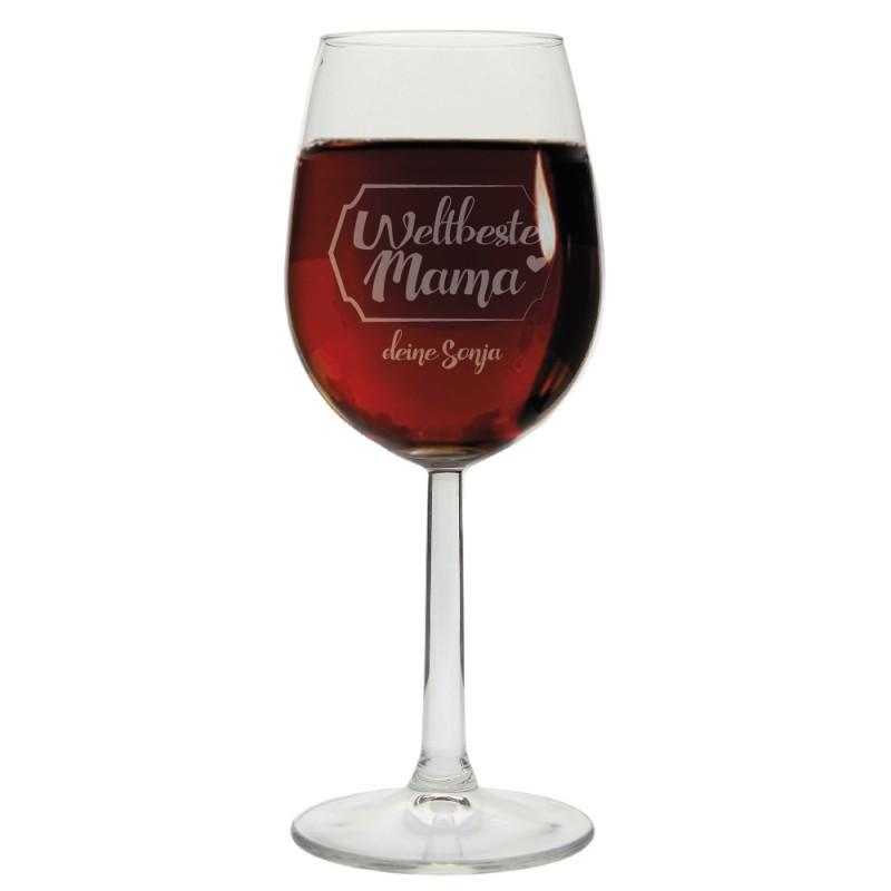 """Weinglas """"Weltbeste Mama"""" - mit Personalisierung"""