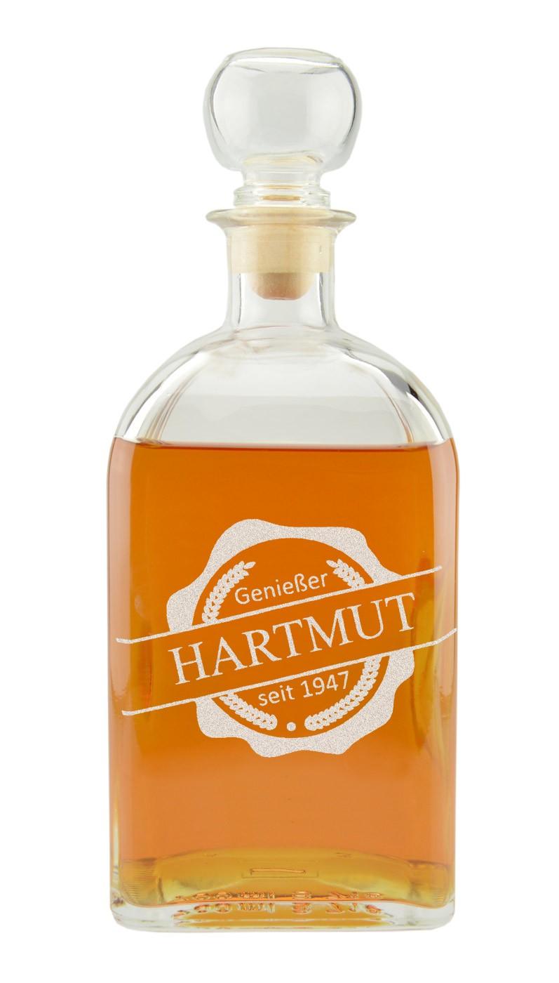 """Gravierte Whiskykaraffe """"Emblem Genießer"""""""