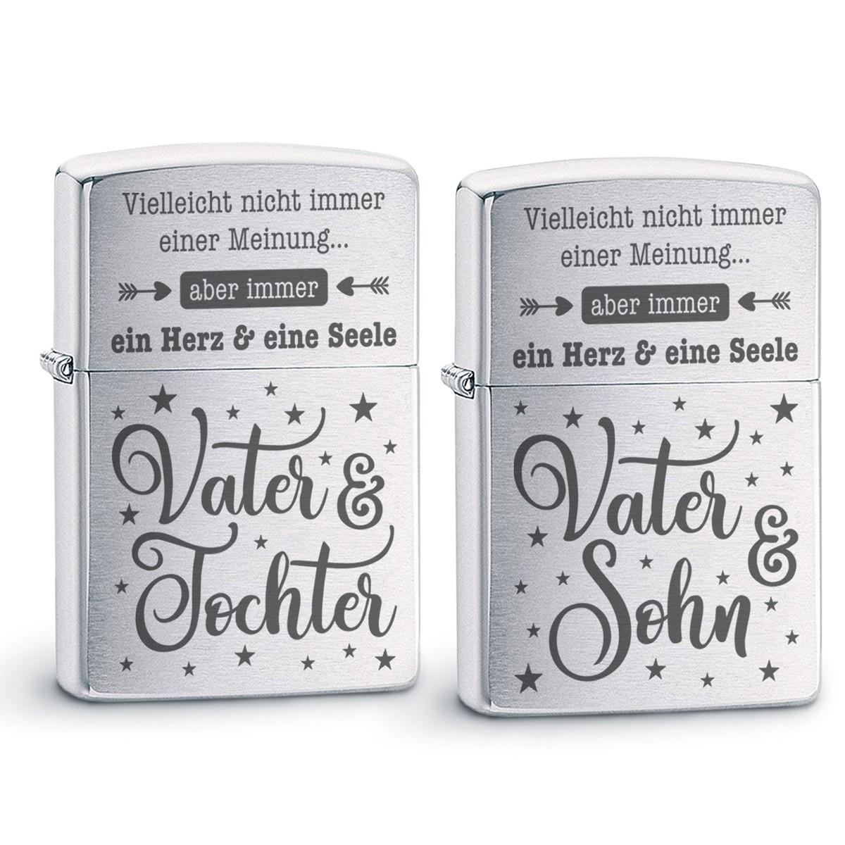 Original Zippo Benzinfeuerzeug: Ein Herz und eine Seele (Vater - Tochter / Sohn)