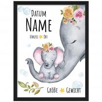 Wandbild zur Geburt:  Baby - Elefant - Mädchen (personalisierbar)