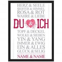 Wandbild: DU und ICH - Rosa-Rot  (personalisierbar)