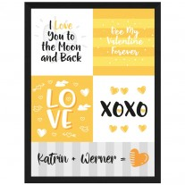 Wandbild: LOVE - XOXO (personalisierbar)