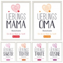 Wandbild: Lieblings- Oma / Mama / Schwester / Tochter / Tante / Cousine. (personalisierbar)