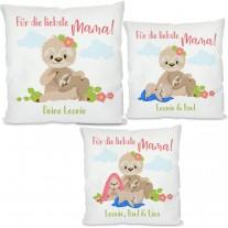 Kissen: Für die liebste Mama! (personalisierbar, 1-3 Kinder)