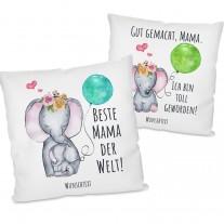 Set (2 Stück) - Kissen mit Motiv - Beste Mama der Welt! - Gut gemacht Mama. Ich bin Toll geworden! (personalisierbar)