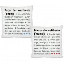 Kissen: Die weltbeste Mama / der weltbeste Papa