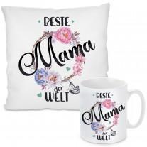 Kissen oder Tasse mit Motiv - Beste Mama der Welt!