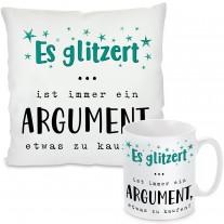 Kissen oder Tasse: Es glitzert
