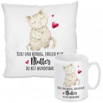 Kissen oder Tasse: Kurz und bündig, ehrlich klar: Mutter du bist wunderbar!