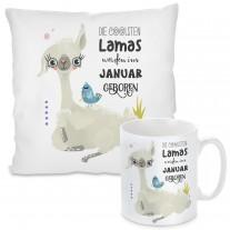 Kissen oder Tasse - Die coolsten Lamas werden im (Monat auswählbar) geboren.