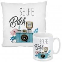 Kissen oder Tasse mit Motiv - Selfie-Bitch.