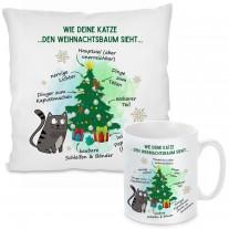 Kissen oder Tasse mit Motiv - Wie deine Katze den Weihnachtsbaum sieht...