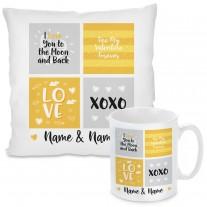 Kissen oder Tasse: LOVE - XOXO (personalisierbar)