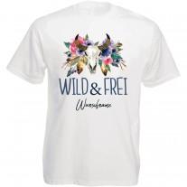 Funshirt weiß oder schwarz, als Tanktop oder Shirt -  WILD & FREI  (personalisierbar)