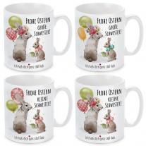 Tasse mit Motiv - Frohe Ostern Schwester! (kleine Schwester - große Schwester)