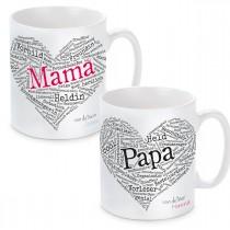 Tasse mit Motiv Modell: Herz aus Worten - Für Mama oder Papa