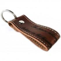 Gravur Leder Schlüsselanhänger 8 cm lang mit Randnaht