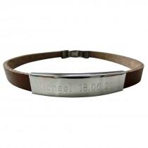 Leder Armband mit Edelstahl Gravurplatte - Clipverschluss