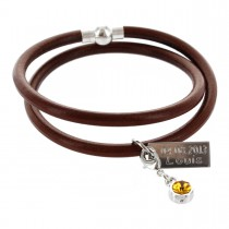 Mutterschmuck Armband 0,5 cm rund mit Geburtsstein-Charm und Diamantgravur - 2-fach gewickelt