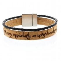 Gravur Korkarmband 1 cm mit geflochtener Schnur und Magnetverschluss