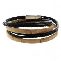 Korkarmband 1 cm mit zwei Schnüren und Magnetverschluss - 2-fach gewickelt