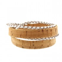 Korkarmband 1,5 cm mit weißer geflochtener Schnur und Magnetverschluss - 2-fach gewickelt