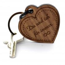 Gravur Schlüsselanhänger aus Holz - Modell: Herz