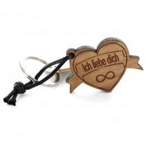 Gravur Schlüsselanhänger aus Holz - Modell: Herz mit Banner