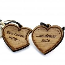 Gravur Partner Set Schlüsselanhänger aus Holz - Modell: Doppelherz