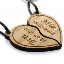 Gravur Partner Set Schlüsselanhänger aus Holz - Modell: geteiltes Herz