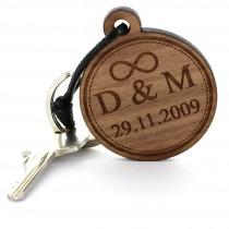 Gravur Schlüsselanhänger aus Holz - Modell: Scheibe