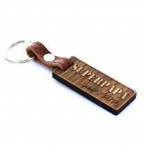 Gravur Schlüsselanhänger aus Holz - Modell: Superpapa