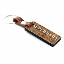 Gravur Schlüsselanhänger aus Holz - Modell: Supermama