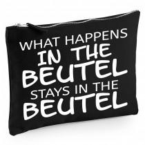 Baumwoll Canvas Kosmetiktasche - Kulturbeutel - Schminktasche Modell: What happens in the Beutel