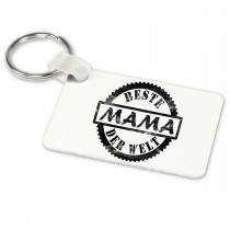 Alu-Schlüsselanhänger weiß - Modell: Beste Mama der Welt