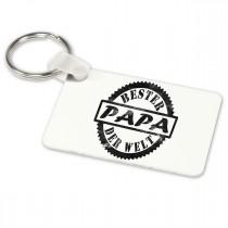 Alu-Schlüsselanhänger weiß - Modell: Bester Papa der Welt