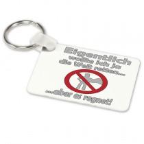 Alu-Schlüsselanhänger weiß - Modell: Die Welt retten