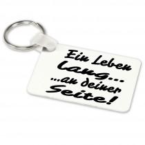 Alu-Schlüsselanhänger weiß - Modell: Ein Leben lang an deiner Seite