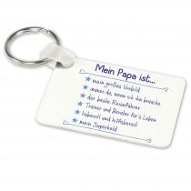 Alu-Schlüsselanhänger weiß - Modell: Mein Papa ist...