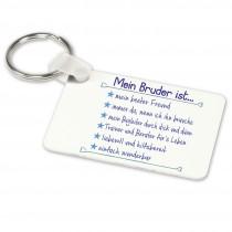 Alu-Schlüsselanhänger weiß - Modell: Mein Bruder ist...