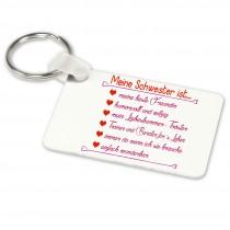 Alu-Schlüsselanhänger weiß - Modell: Meine Schwester ist...