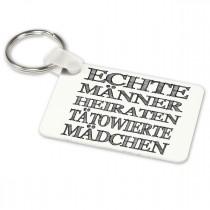 Alu-Schlüsselanhänger weiß - Modell: Echte Männer