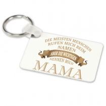 Alu-Schlüsselanhänger weiß - Modell: Die wichtigen nennen mich Mama