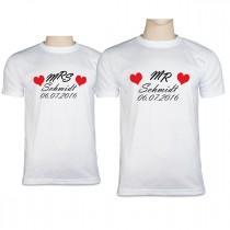 Partner T-Shirts bedruckt mit Namen & Datum