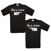 Partnershirt schwarz 2er-Set - She´s mine - He´s mine