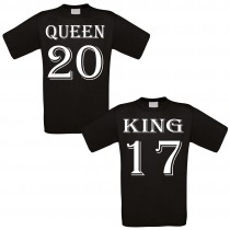 Partnershirt schwarz 2er-Set - King & Queen - individualisierbar