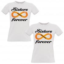 Schwesternshirt weiß 2er- 3er- und 4er- Set - Sisters forever - individualisierbar