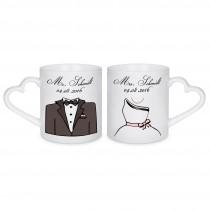 Herzhenkeltassen Tasse Braut und Bräutigam