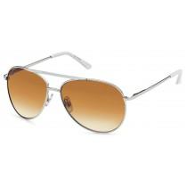 Sonnenbrille - Farbe silber/weiß, Gläser braun